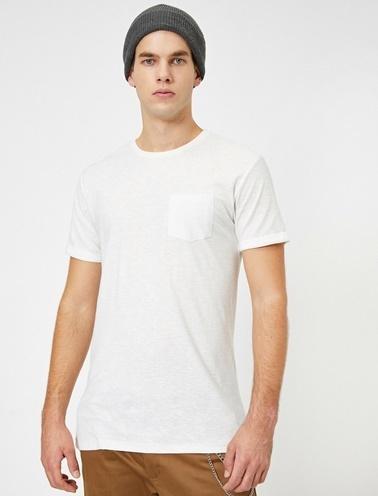 Koton Bisiklet Yaka Cep Detaylı Flamli Kumas Slim Fit Basic T-Shirt Ekru